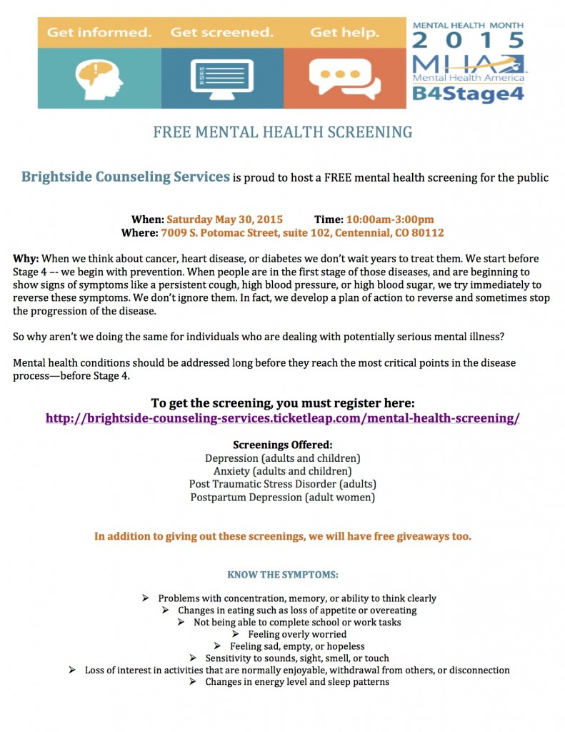 Mental Health Screening May 2015